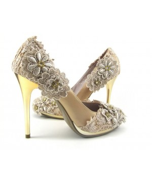 Cream Lace Wedding heels