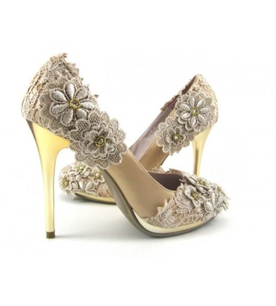 Cream Lace Wedding heels
