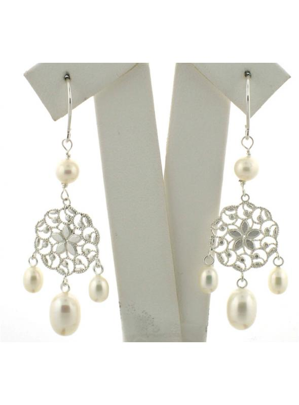 Bridal Flower Pearl Earrings - SOLD OUT
