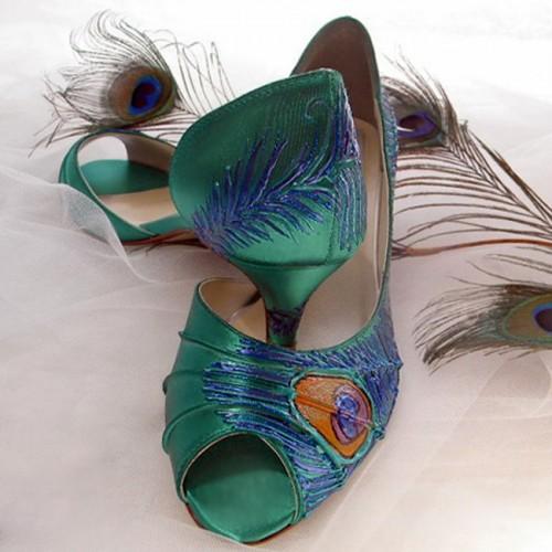 "Vintage inspired wedding shoes in Emarald green, Model ""Marcela"""