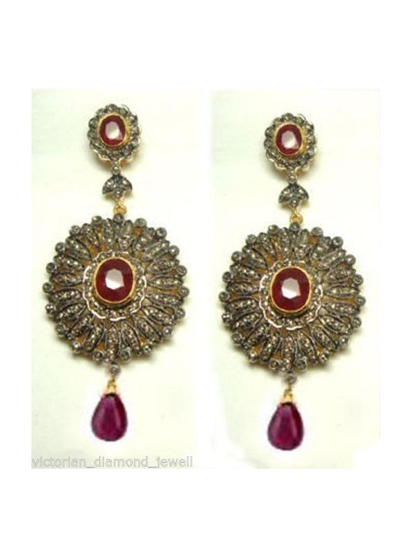 SuratKarat Victorian Antique Cut/Rose Cut Diamond Earrings - WSE44503