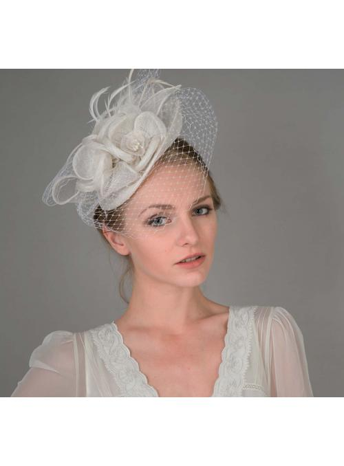 Peach Floral Sinamay Fascinator Headband in White