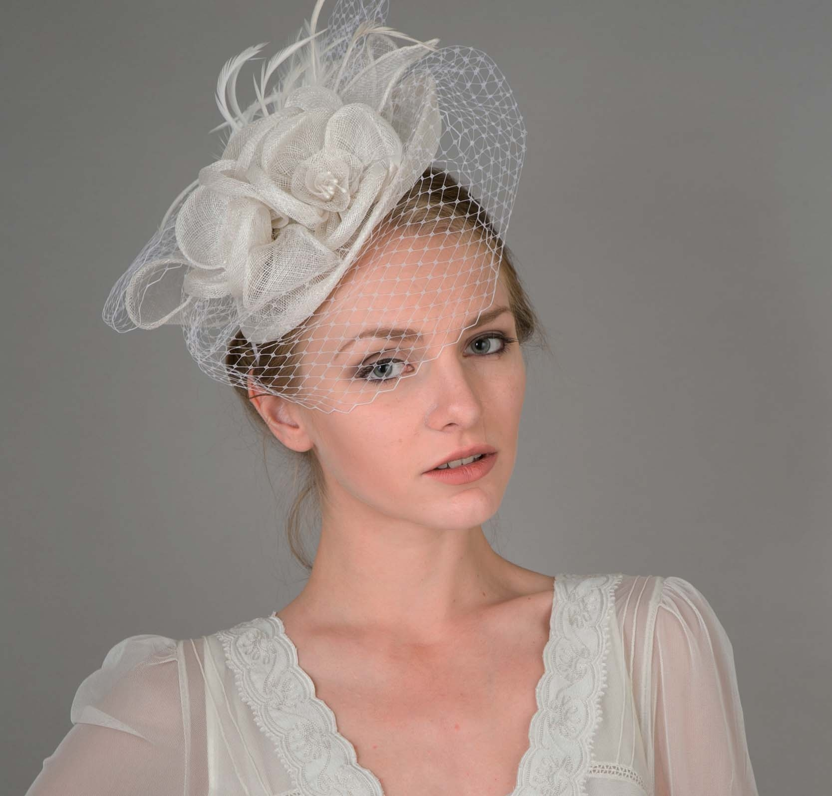 Peach Floral Sinamay Fascinator Headband in White - SOLD OUT c7064fb5963