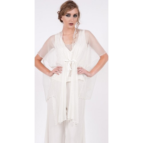 Asymmetric Tulle Airy Jacket in Ivory by Nataya