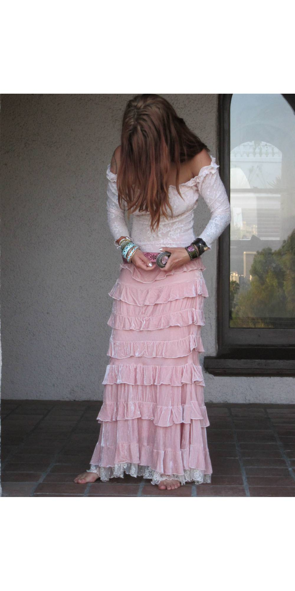 Velvet Princess Skirt In Pink By Marrika Nakk