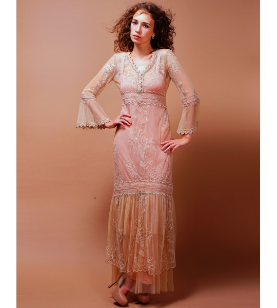 Titanic Empire Waist Wedding Dress in Pink/Champagne by Nataya