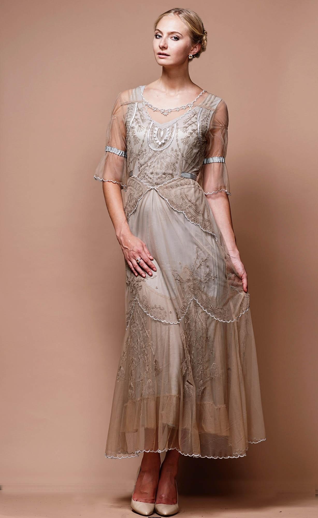 Edwardian Vintage Inspired Wedding Dress in Sand-Silver by Nataya