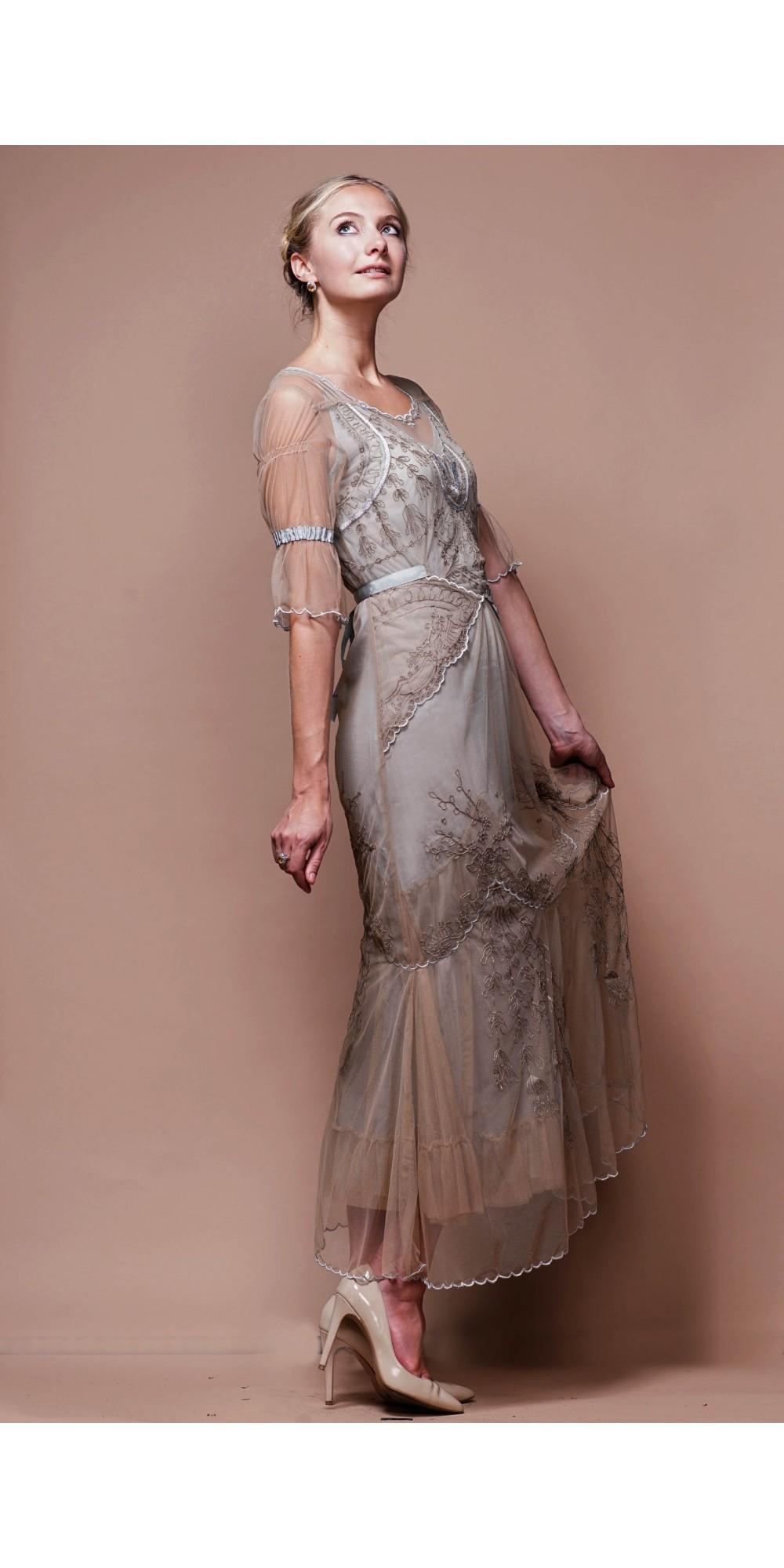 Silver Vintage-Inspired Wedding Dresses