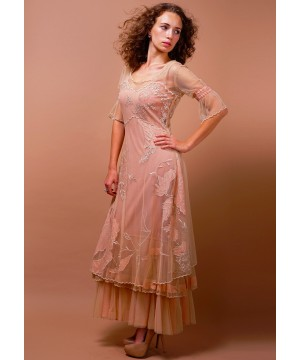 Titanic Tiered Vintage Wedding Dress in Pink/Champagne by Nataya