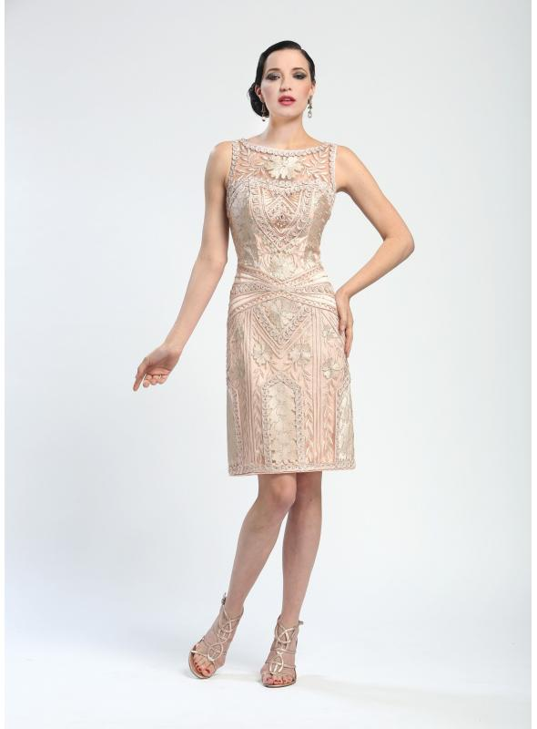 Elegant Embroidered Short Cocktail Dress in Blush by Sue Wong