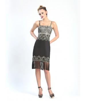 Beaded Fringe Hem Party Dress in Black Platinum by Sue Wong