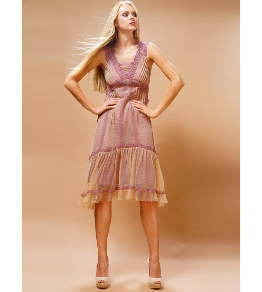 Bohemian Vintage Inspired Dress in Rose/Beige by Nataya