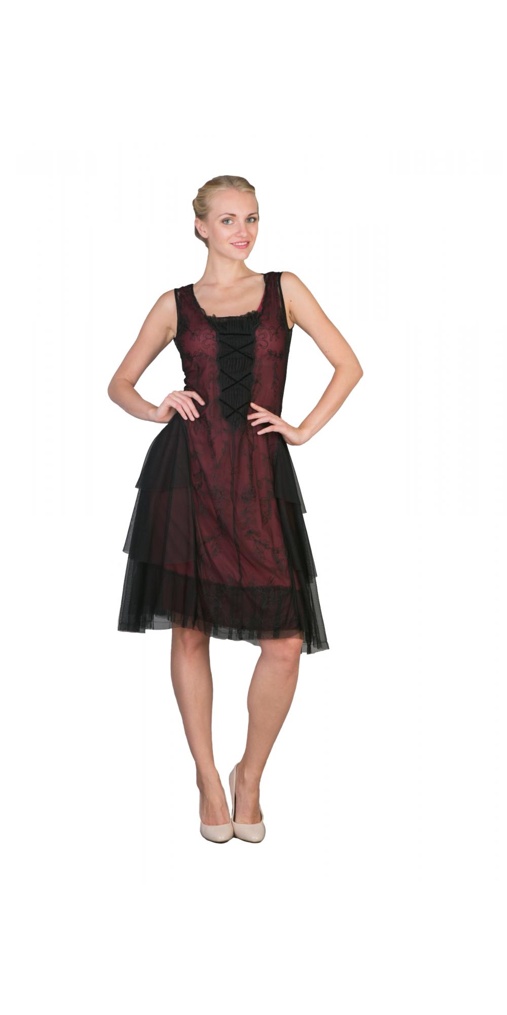 Chic Party Dress In Black Burgundy By Nataya