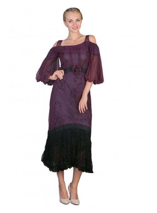 Off-Shoulder Vintage Style Party Dress in Purple by Nataya