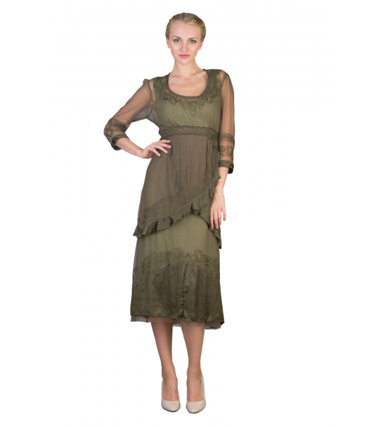 Embroidered Empire Waist Vintage Party Dress in Aloe