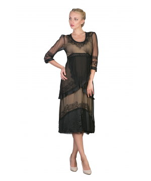 Embroidered Empire Waist Vintage Party Dress in Black/Gold by Nataya