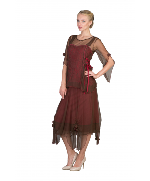 Asymmetrical Chiffon Rosettes Party Dress in Chocolate/Raspberry by Nataya