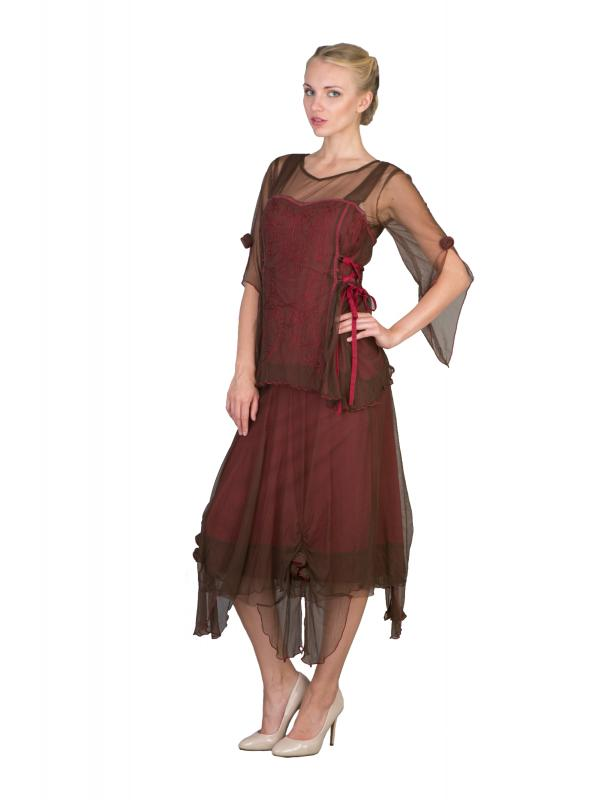 Asymmetrical Chiffon Rosettes Party Dress in Chocolate/Raspberry by Nataya