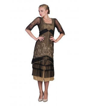 Titanic Tea Party Dress in Black Gold by Nataya