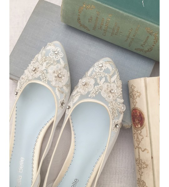Vintage Wedding Shoes, Flats, Boots, Heels Adora Bridal Flats $298.00 AT vintagedancer.com
