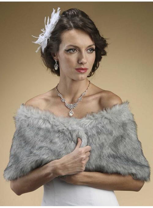 Faux Fur Wrap in Grey Chinchilla