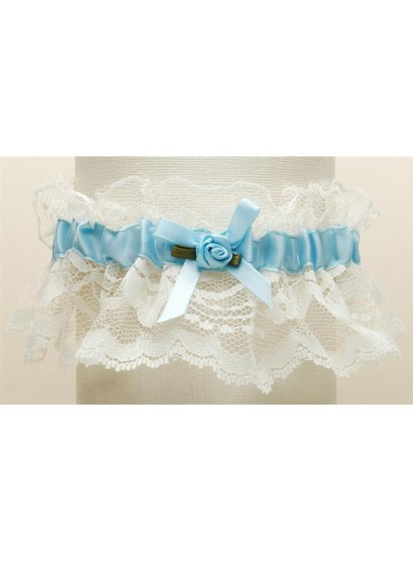 Hand-Sewn Vintage Lace Wedding Garters - Ivory with Blue