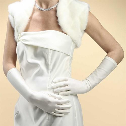 Below Elbow Wedding Gloves in Matte Satin