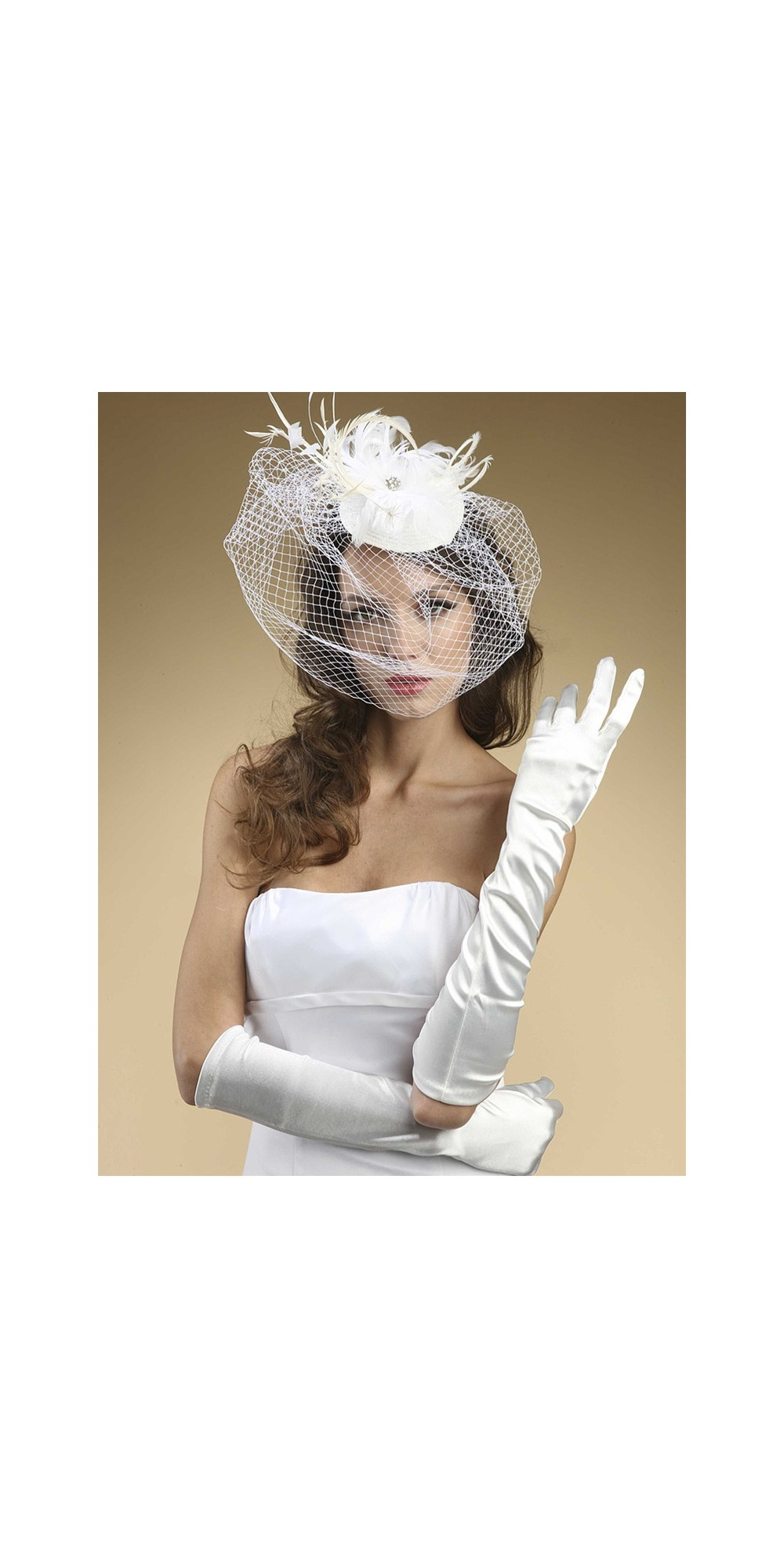 Below Elbow Wedding Gloves In Shiny Satin