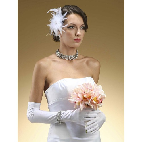 Above Elbow Gloves in Matte Satin for Brides and Second Time Brides