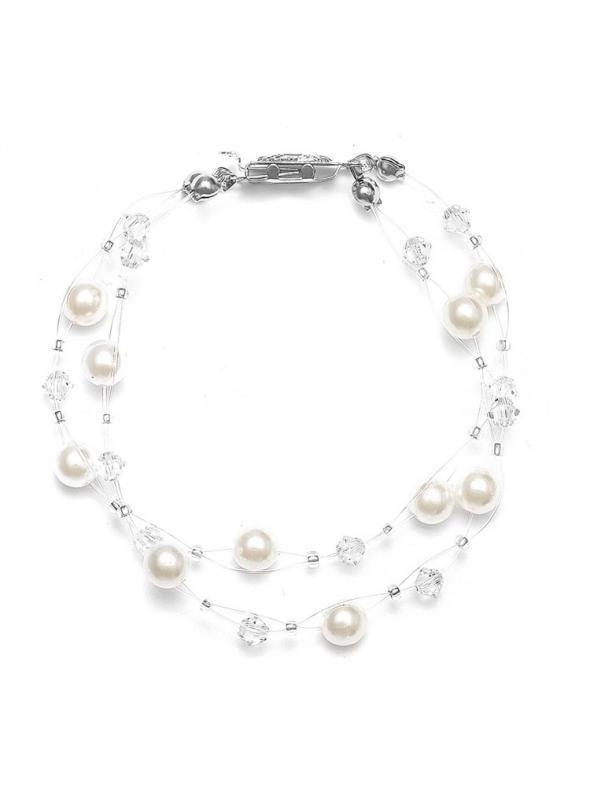 2-Row Pearl & Crystal Bridal Illusion Bracelet