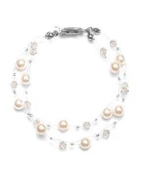 2-Row Pearl & Crystal Bridal Illusion Bracelet - Honey