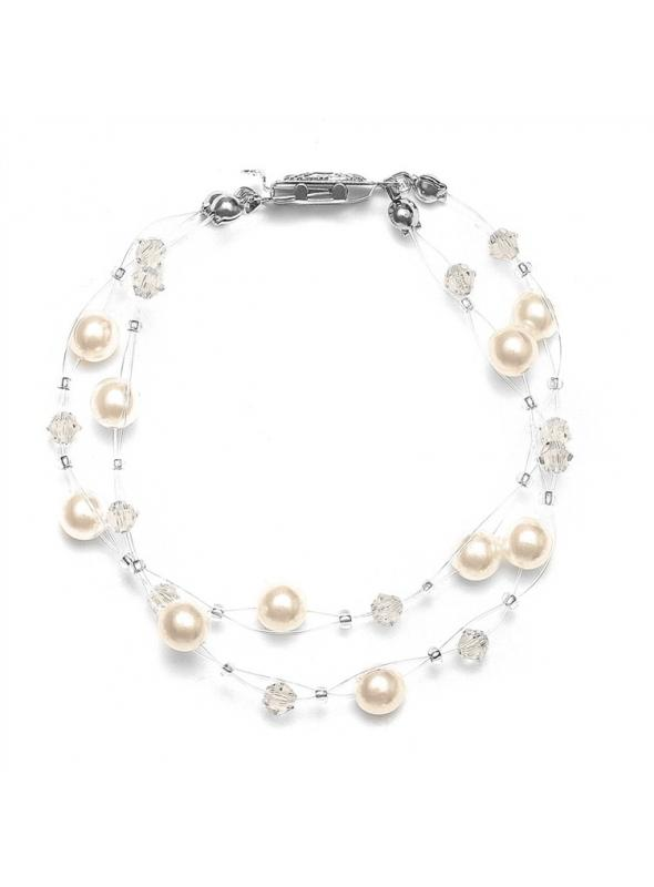 2-Row Pearl & Crystal Bridal Illusion Bracelet - Honey