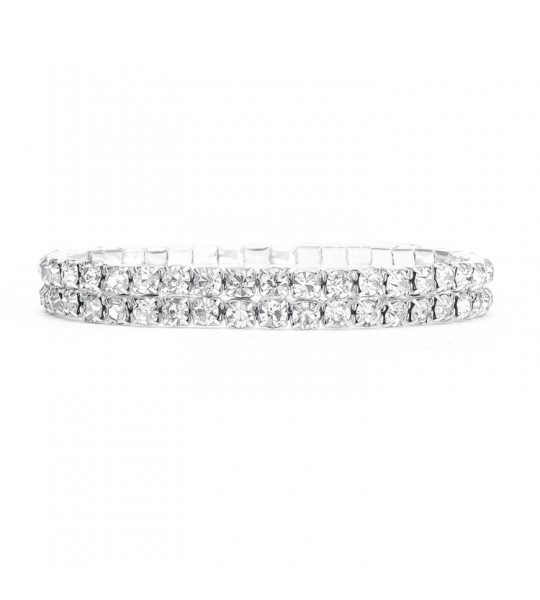 2-Row Stretch Rhinestone Bracelet