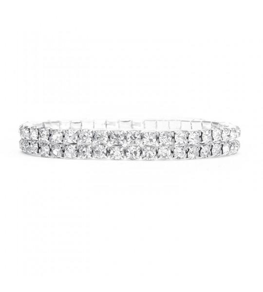 2-Row Stretch Rhinestone Bracelet