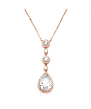 Best-Selling Rose Gold Bridal Necklace with Pear-shaped CZ Drop