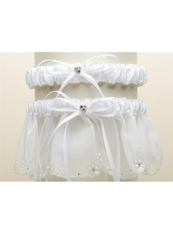 Bridal Garter Set with Inlaid Crystal Hearts - White