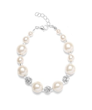 Pearl Wedding Bracelet with Rhinestone Fireballs