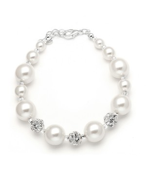 Pearl Wedding Bracelet with Rhinestone Fireballs - White
