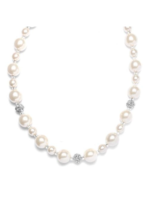 Pearl Wedding Necklace with Rhinestone Fireballs