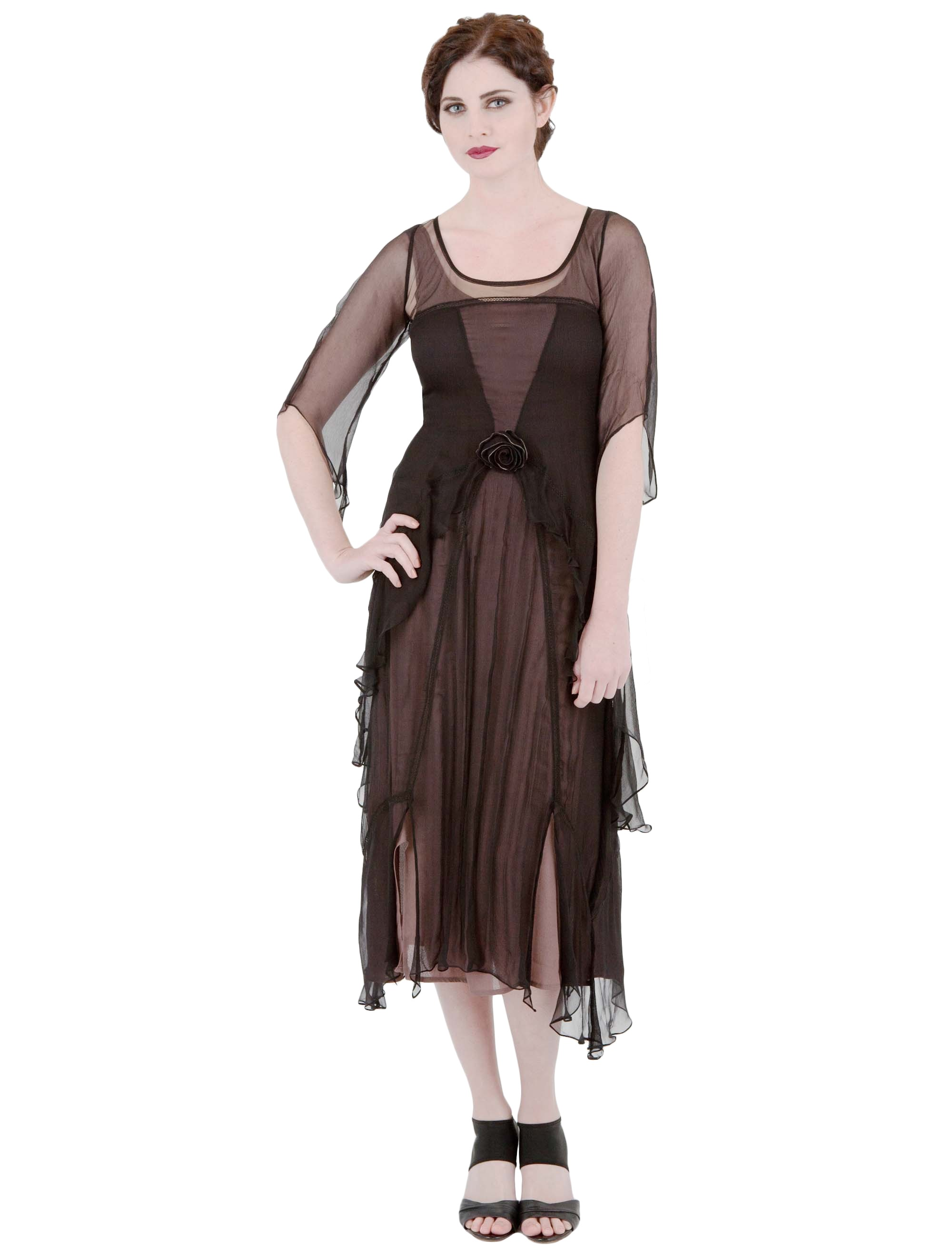 Great Gatsby Party Dress in Black/Coco by Nataya - SOLD OUT