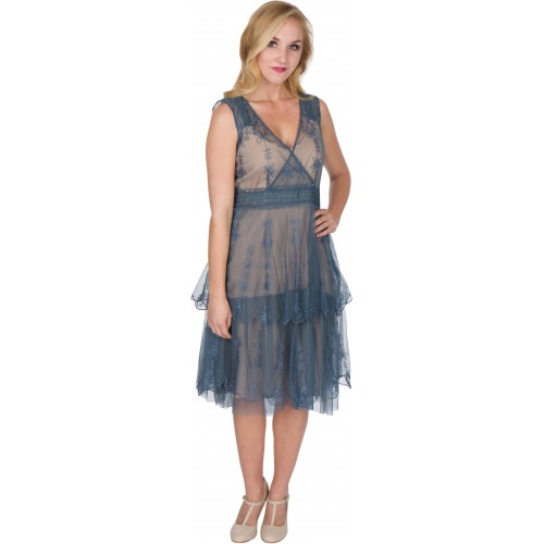 Gianna Vintage Style Party Dress in Sapphire by Nataya