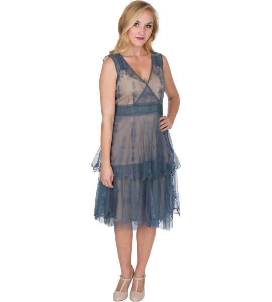 Gianna AL-235 Vintage Style Party Dress in Sapphire by Nataya