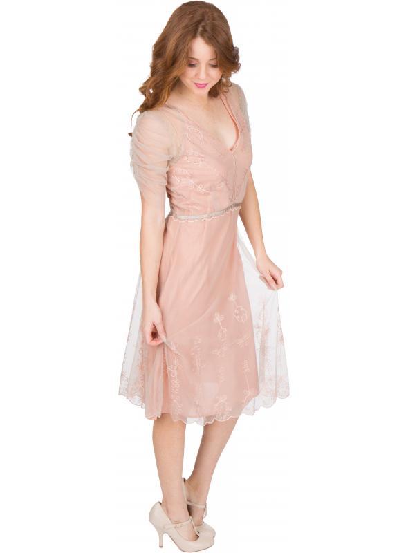 Scarlett AL-251 Vintage Style Party Dress in Quartz by Nataya