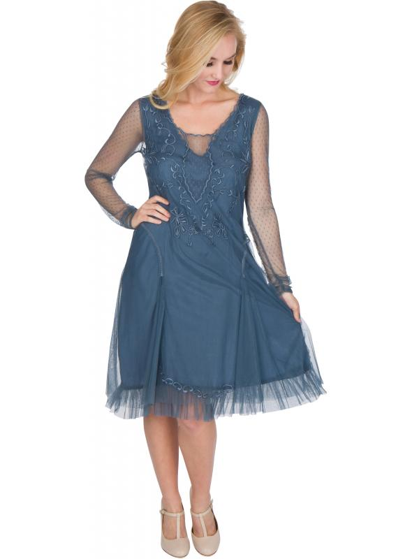 Serenity Vintage Style Party Dress in Sapphire by Nataya