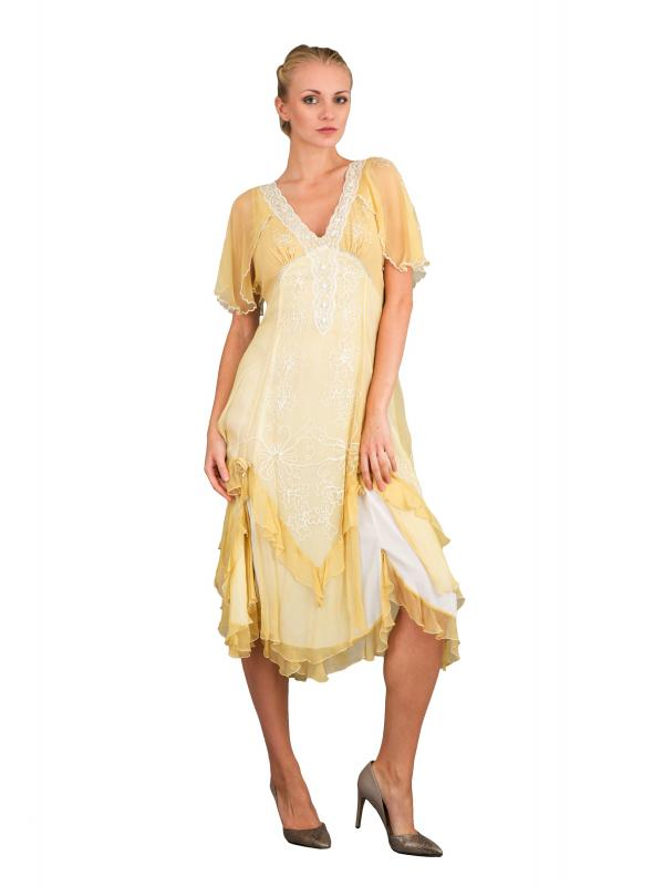 Romantic 40241 Vintage Style Party Dress in Lemon by Nataya