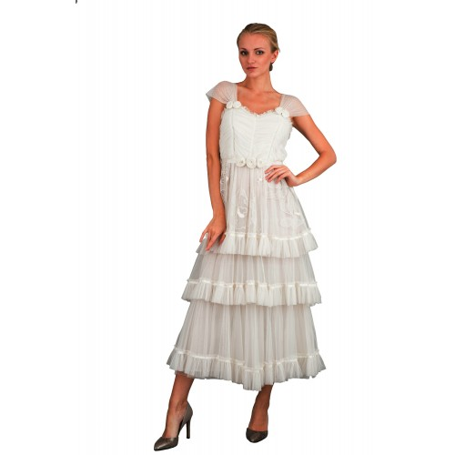 Romantic Frilled Vintage Inspired Tea Party Dress in Ivory by Nataya