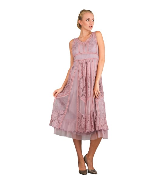 Romantic 40250 Vintage Style Sleeveless Dress in Violet by Nataya