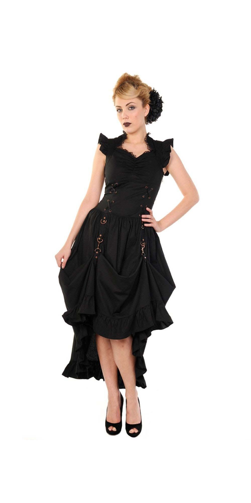 Steampunk Victorian Party Dress in Black