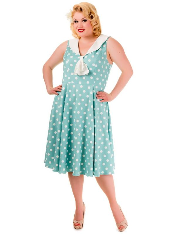 Pin Up Vintage Style Polka Dot Short Sleeve Party Dress