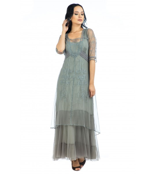 Victoria Vintage Style Party Gown in Smoke by Nataya